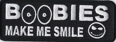 """Biker Key chain patch funny patch new nice /""""BOOBIES MAKE ME SMILE/"""" NEW"""