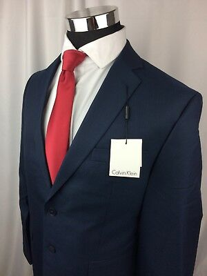 NEW Calvin Klein Mens 42 S Navy Blue Wool Sport Coat Blazer Two Button MRSP $300
