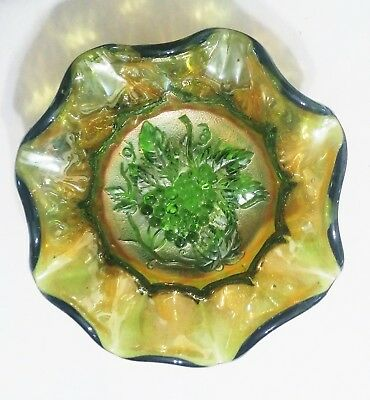 Vintage Carnival Glass Bowl Green Imperial Heavy Grape Pattern