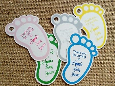 20x Personalised Baby Footprints Tags Baby Shower Christening Favour Gift Tags