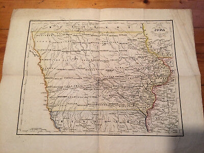 Antike Original Landkarte Map Iowa 1852 Meyer's Hand Atlas