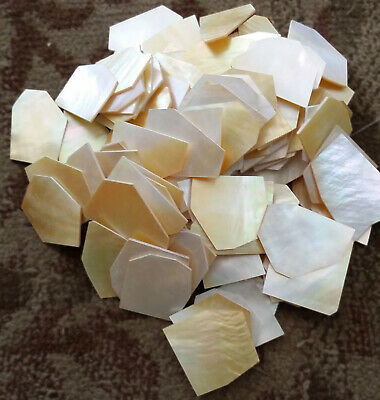 GOLD& WHITE Mother of Pearl ..060/ mop FLAT INLAY BLANKS.shell~1 lb