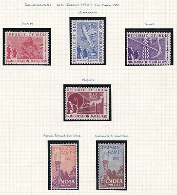 Commonwealth. India  THREE PAGES. 1950-56 issues. Mint.
