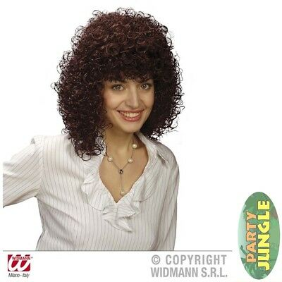 GABRIELLE PERM 80'S RETRO BROWN LADIES MULLET WIG Adults Fancy Dress Accessory