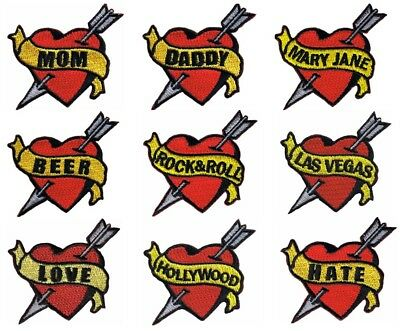 6278 Rock /& Roll Heart Banner Love Tattoo Flash Embroidered Iron Sew On Patch