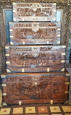 RARE Chinese hand carved camphor wood / brass chests 4 nesting trunk style (OLD)
