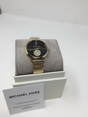 2cd32ef4faee Michael Kors MK3788 Portia Crystals Yellow Gold Black Dial Stainless Watch   225