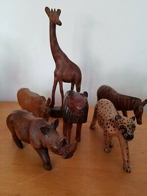Lot of  6 carved Wooden Animals African Giraffe Rhino Lion Zebra Leopard