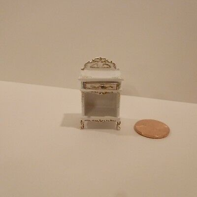 "Miniature 1/2"" Scale Side Table W/drawer    White Finish W/hand Painted Design"