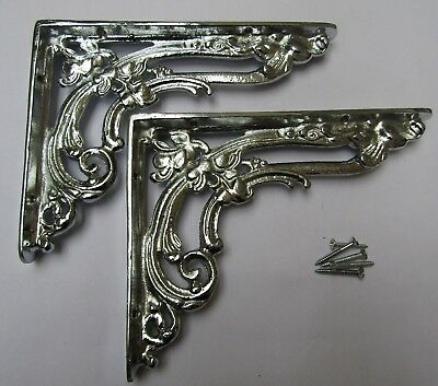 "Pair of 8"" CHROME FLORAL cast iron shelf wall brackets vintage old style"