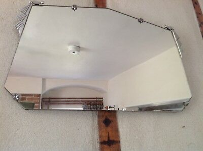 Vintage Frameless Art Deco Wall Mirror Bevelled Edge Original Chain 53x33cm