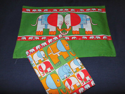 Elefanten Bettwäsche 70er vintage Stoff Dumbo bedding fabric 70s Colani-like vtg