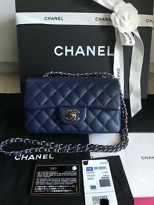 975529a2f9bd64 100% Authentic Chanel Mini Rectangular Caviar Classic Flap Bag in Navy 17B