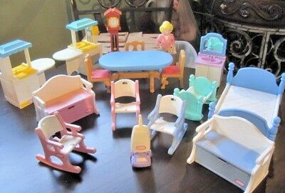 Large Lot Vintage Little Tikes Doll House Furniture U0026 Doll
