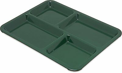 12 Carlisle Melamine 4-Compartment Divided Tray, 11 x 9; Lunch Cafateria Plate