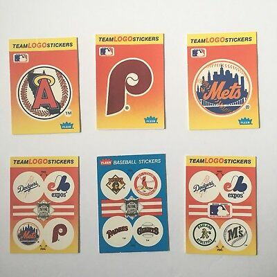 Vintage fleer 1991 1989 team logo baseball teams stickers mlb lot of 6