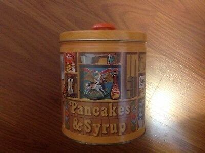 Aunt Jemima Pancake Syrup '83 Tin Storage Container Lid Cooking Instructions Vtg
