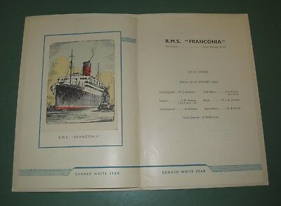 Vintage 1950 R.M.S. Franconia Cunard White Star Cruiselines List of Passengers