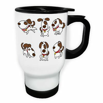 Happy Dog smile Funny White/Steel Travel 14oz Mug p412t
