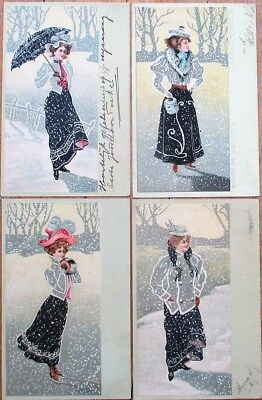 Art Nouveau 1903 SET OF FOUR Postcards: Women, Snow, Ice Skating- Embossed Litho
