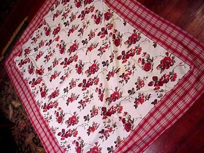 RED ROSES & Garden Flowers COUNTRY FRENCH Style FLORAL Tablecloth PLAID Border