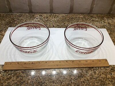 Coca Cola  Clear Glass Bowls 2 with Red Writing