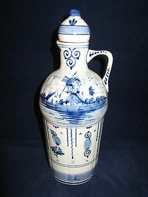 Delft Blue Hand Painted Decanter Bottle (empty) Hoppe Distilleries Holland Vntg