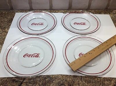 """Set Of 4 Coca Cola 8"""" Plates Clear Glass Red Ring Coke Plates"""