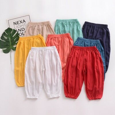 Toddler Baby Kids Boys Girls Casual Harem Pants Trousers Sweatpants Solid Colors