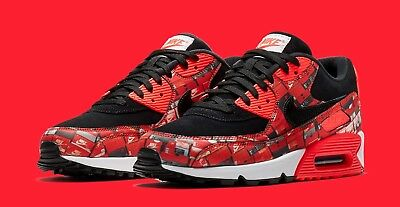 official photos 8c521 8e038 Nike x Atmos Air Max 90 Red Black White Mens Sneakers Trainers 6 7 8 9