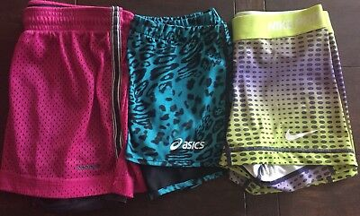 Lot of 3 NIKE Aasics Reebok womens Compressions Shorts XS GUC