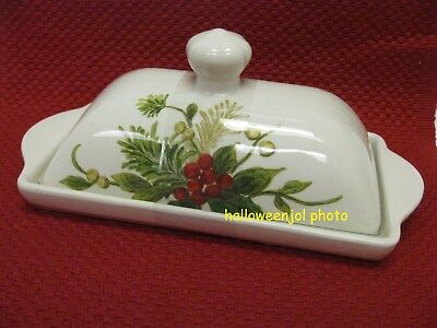 MAXCERA CHRISTMAS BUTTER DISH YULETIDE BOUGH Holiday HOLLY BERRY PINECONES NEW & 2) MAXCERA Yuletide Bough BERRIES PINE CONES CHRISTMAS BUFFET SALAD ...