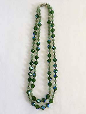 Glass and Silver Bead Double Strand Necklace