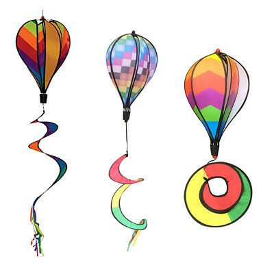 3Pcs Hot Air Ballon Moulin à vent Windsock Jardin Cour Pelouse Festival