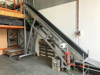 Mobile Incline conveyor 3400mm hgh x 500 wide 3 phase. Suit mezzanine. REDUCED