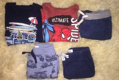 Lot Of 5 Piece Boys 18M Summer Spring Clothes Shorts T-Shirts Set Old Navy