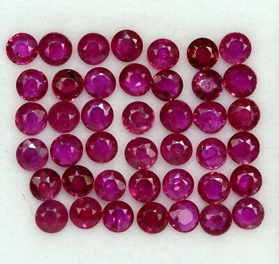 Natural Ruby Round Cut 2.25 mm Lot 30 Pcs 1.75 Cts Red Shade Loose Gemstones