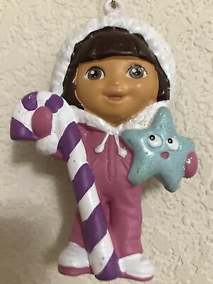 dora the explorer Xmas ornament blue star purple candy cane pink outfit