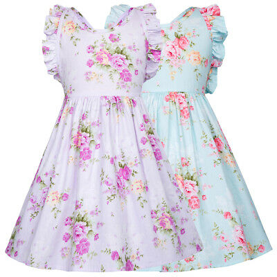 Children Kids Girl Floral Pattern Sleeveless Cotton Party Dress Summer Princess/
