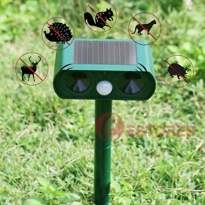 Solar Power Dual Ultrasonic Pest Cat Rats Dog Mouse Animal Repeller Repellent