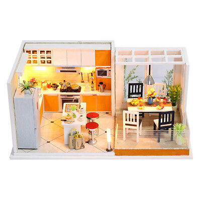 DIY Assembly Wooden Dolls House Miniature Furniture Kit w/Cover/LED Light #2
