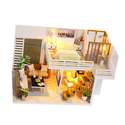 DIY Assembly Wooden Dolls House Miniature Furniture Kit w/Cover/LED Light #1