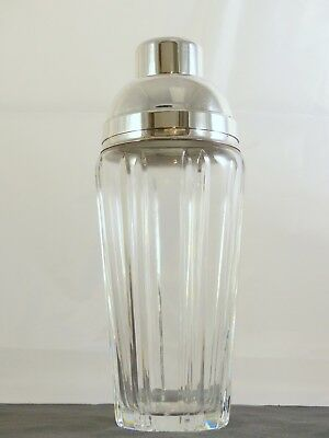 """Vintage Antique Art Deco  9"""" Shaker Cocktail 1930 Silverplated Crystal"""