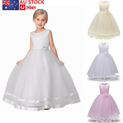 AU Kids Girls Princess Flower Wedding Bridesmaid Long Dress Sleeveless 4-12Ys