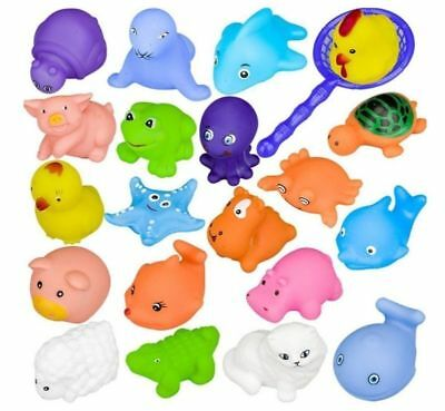 10 Different Rubber Toys Animals for Baby Swimming Float Squeeze Wash Bath