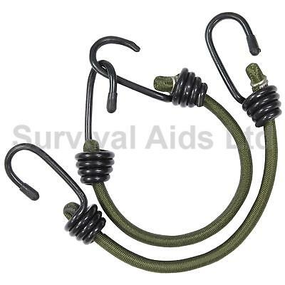 Olive Green 12 inch Bungees x 2, Cut Down