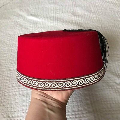 Red Emboidered Turkish Fez Fes Tarboosh Cone Exotic Ottoman Hat Rare Model 52d94f18ca69