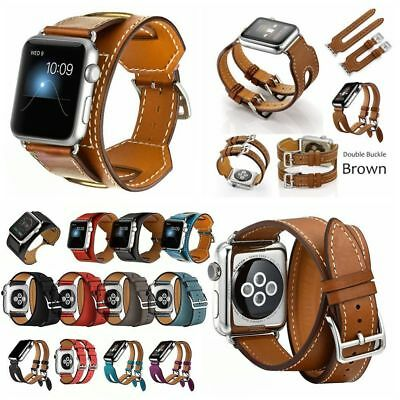 Luxury Leather Wrist Band Strap Bracelet For Apple Watch Series 5 4 3 2 1 iWatch