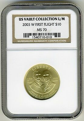 2003-W First Flight $10 Commerative Gold Ngc Ms70