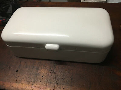 Art Deco/Vintage Bread Bin White Enamel With Blue Trim 100% Original